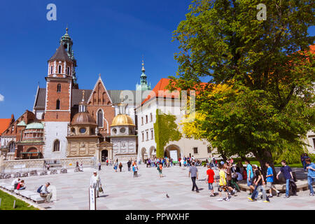 Cracovia, Polonia : Hay turistas que caminan alrededor de la catedral de Wawel sobre la colina de Wawel. Primero construido y destruido en el siglo XI; la construcción del curren