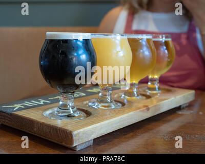 Vuelo de la Stout, ámbar, IPA cervezas sentados en paleta de madera
