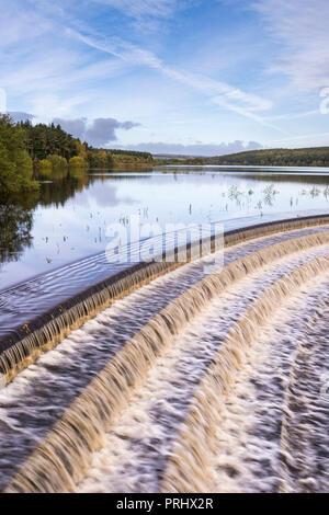 El agua que fluye a través de vertedero de calma escénico lago arbolada, bajo el cielo azul profundo - Depósito Fewston, Washburn Valley, North Yorkshire, Inglaterra, Reino Unido.