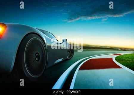 Representación 3D de un flamante coche deportivo menos gris con motion blur . La pista de carrera de fondo . Sunset escena .