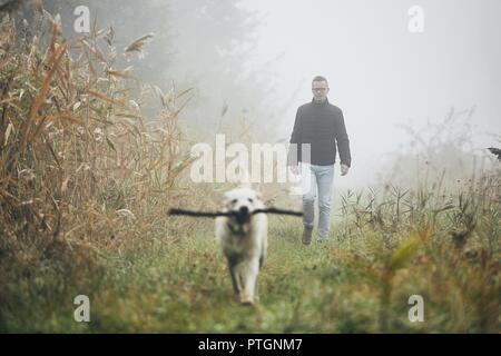 Joven jugando con el perro (labrador retriever) en el otoño de niebla por la mañana. Foto de stock