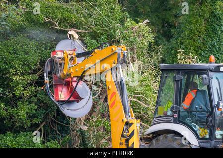 Protech Powerblade PB2000 (2000) doble sierra giratoria montada en un tractor, tala de árboles en bosques en otoño en el Reino Unido.