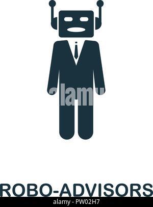 Icono Robo-Advisors. Diseño de estilo monocromo de fintech colección. UX y UI. Pixel Perfect robo-icono de asesores. Para el diseño de sitios web, aplicaciones, software, prin Foto de stock