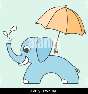 Elefante ilustraciones vectoriales, estilo de dibujos animados para niños