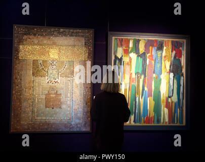 Londres, Reino Unido, 18 de octubre de 2018,un Photocall en Bonhams, New Bond Street, tuvo lugar en el día de hoy para obtener una vista previa de la Semana de Arte Asiático de 3 ventas que están teniendo lugar en la 23ª/24a Octubre de 2018. Estas ventas son: Islámica, India y Oriente Medio moderno y contemporáneo, Arte Moderno y Contemporáneo Arte y asiáticos del sur de Pakistán. Crédito: Keith Larby/Alamy Live News Foto de stock