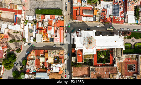 Vista aérea de el Zócalo, centro histórico de la ciudad de San Miguel de Allende, México