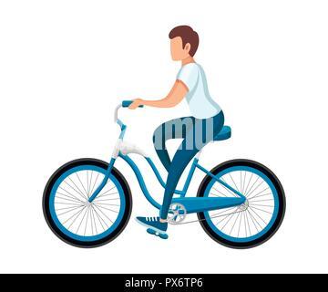 Hombres que viajaban en bicicleta. Con bicicleta y boy en ropa deportiva. Cartoon character design. Ilustración vectorial plano aislado sobre fondo blanco. Foto de stock