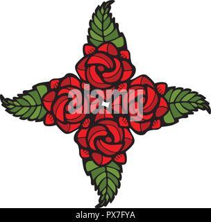 Cuatro Rosas decoración en estilo vitrales