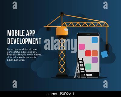 Concepto de desarrollo de aplicaciones móviles. Listo para usar ilustración vectorial. Adecuado para el fondo, papel tapiz, landing page, web banner, tarjeta y otros creati