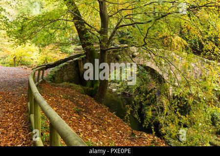 Newcastle, N.Ireland, 21 de octubre, 2018. El clima del REINO UNIDO: Sunny intervalos en la tarde después de una gris mañana húmeda. Encantador para una caminata por la tarde alrededor de Tollymore Park para disfrutar de los colores del otoño. Foley's puente sobre el río Shimna. Crédito: Ian Proctor/Alamy Live News