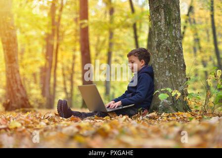 Chico con laptop en bosque, colores de otoño, la luz cálida del atardecer