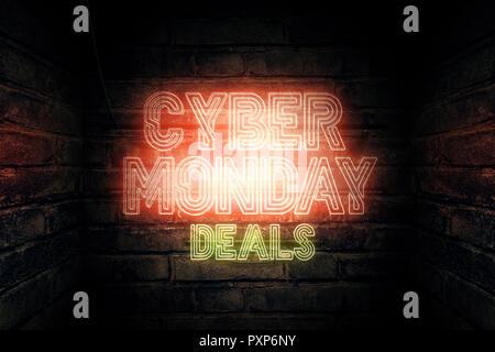 Cyber Monday ofertas cartel de neón, 3D rendering ilustración