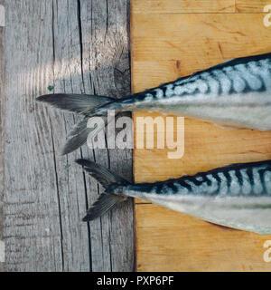 Dos pescado fresco sobre una tabla para cortar, cocinar caballa,colas de pescado cerrar Foto de stock