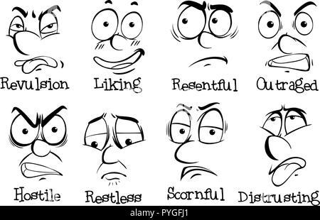 Ocho diferentes expresiones en rostros humanos ilustración