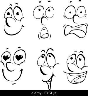 Las diferentes expresiones faciales ilustración sobre fondo blanco.