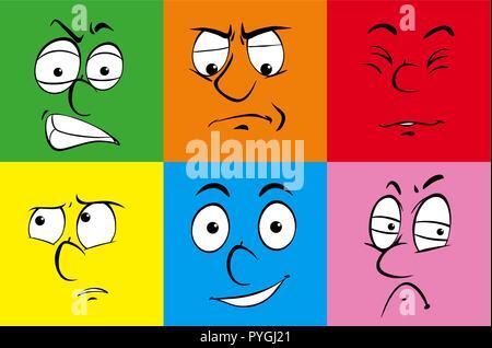Derechos de las expresiones faciales de coloridas ilustraciones de fondo