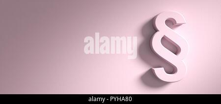Concepto de párrafo, signo de sección sobre pink wall antecedentes, banner, copia el espacio. Ilustración 3d
