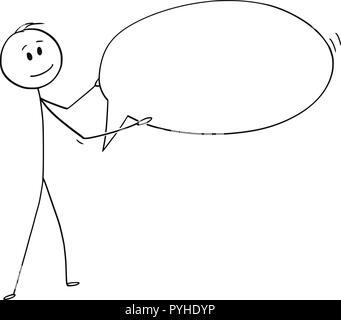 Caricatura de hombre o empresario celebración vacío discurso burbuja o globo de texto