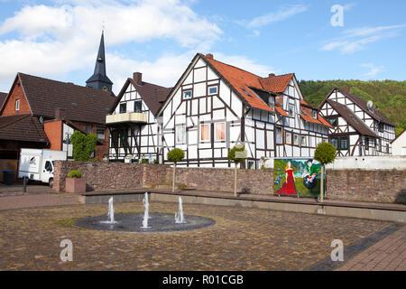 Paisaje urbano de Bodenwerder, cuna del Barón Muenchhausen, Weserbergland, Baja Sajonia, Alemania, Europa