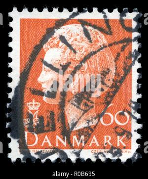 Sello de Dinamarca en la reina Margrethe II serie 1