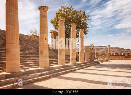 Las ruinas del templo en Lindos. Rodas, Grecia.