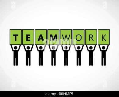 Concepto de trabajo en equipo negocios pictograma verde ilustración vectorial EPS10