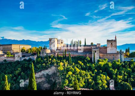 Panorama de la Alhambra desde el Mirador de San Nicolás. De izquierda a derecha: Palacios Nazaries, el Palacio de Carlos V y la Alcazaba. A continuación, el Sacromonte -