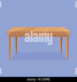 Ilustración vectorial de mesa rectangular de madera sobre fondo violeta con sombra gris. Objeto aislado para la creación de escenas de interiores. Cartoon