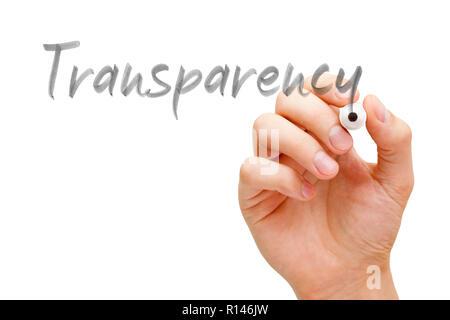 Escritura a mano la palabra transparencia con marcador negro sobre transparente wipe junta aislado en blanco.