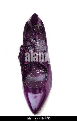 Arenque rojo púrpura zapatos de tacón de plástico de patentes