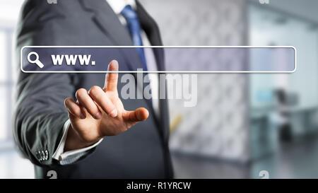 Interfaz de la barra de búsqueda del empresario tocar delante de una escena de oficina