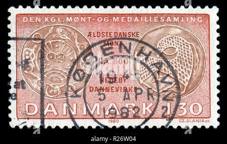 Sello postal de Dinamarca en la serie de monedas emitidas en 1980