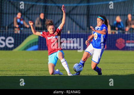 Birmingham, Reino Unido. 18 de noviembre, 2018. Birmingham City's Paige Williams compite por el balón con West Ham Tessal Middag. BCFC MUJER 3 - 0 West Ham Mujer Peter Lopeman/Alamy Live News