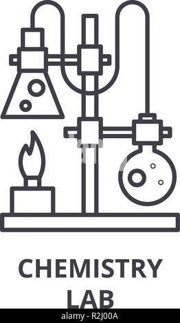 Icono de línea de laboratorio de química concepto. Laboratorio de Química vector Ilustración lineal, símbolo, signo