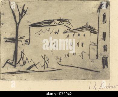 Esquina de la calle en Dresde (Strassenecke Dresden). Fecha: 1909. Dimensiones: placa: 9,8 x 13,6 cm (3 7/8 x 5 3/8 in.) de la hoja: 18 x 22 cm (7 x 8 1/16 11/16). Medio: punta seca sobre papel secante. Museo: La Galería Nacional de Arte, Washington DC. Autor: Ernst Ludwig Kirchner.
