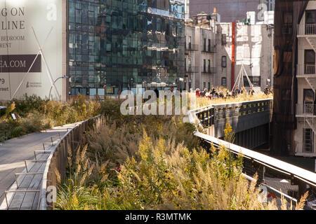 La línea alta de un parque urbano en una antigua línea de ferrocarril elevado, Chelsea, Nueva York, Estados Unidos de América.