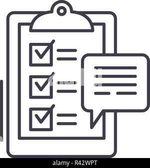 Icono de línea de encuestas a clientes de concepto. Las encuestas de los clientes de vector Ilustración lineal, símbolo, signo
