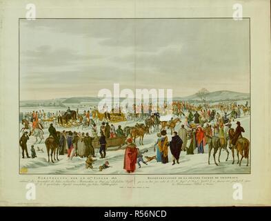 Los espectadores se reúnen para ver una procesión compuesta de cuatro trineos dorados llevar Royal Los huéspedes escoltados por soldados a caballo que viajan a través de un parque cubierto de nieve, con vista de Schönbrunn Palace en el fondo y la fuente de Neptuno, en una colina más allá. . DARSTELLUNG DER AM 22.Januar 1815 = REPRà tem‰SENTATION DE LA GRANDE CURSO DE TRÁINEAUX : während der Anwesenheit der hohen Monarchen verbündeten en Wien auf Befehl allerhöchsten Hna. k. k. apostolischen Majestät veranstalteten feyerlichen Schlittenfahrt. / Fr. Phill. Reinhold pinx.t. [Viena] : Publié una chez Artaria Vienne et