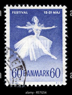 Sello de Dinamarca en el Festival de Ballet y música danesa serie publicada en 1962