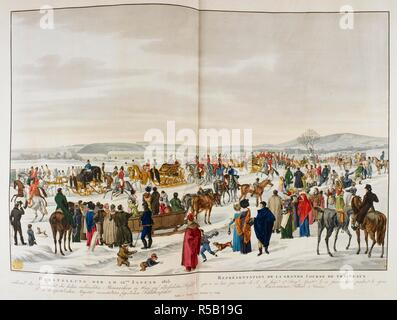 Los espectadores se reúnen para ver una procesión compuesta de cuatro trineos dorados llevar Royal Los huéspedes escoltados por soldados a caballo que viajan a través de un parque cubierto de nieve. Una vista de Schönbrunn Palace en el fondo y la fuente de Neptuno, en una colina más allá. DARSTELLUNG DER AM 22.Januar 1815 = REPRà tem‰SENTATION DE LA GRANDE CURSO DE TRÁINEAUX : während der Anwesenheit der hohen Monarchen verbündeten en Wien auf Befehl allerhöchsten Hna. k. k. apostolischen Majestät veranstalteten feyerlichen Schlittenfahrt. [Viena] : Publié una chez Artaria Vienne et Comp., [alrededor de 1815]. Mano de color e