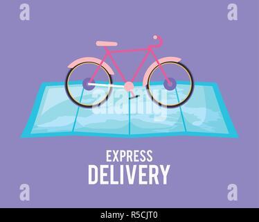 Servicio de entrega de bicicletas en el mapa guía de diseño ilustración vectorial Foto de stock