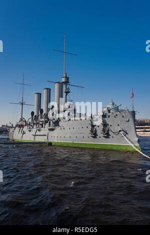 Rusia, San Petersburgo, Petrogrado, el crucero Aurora, disparó primero de la Revolución de Octubre, Octubre 25, 1917 Foto de stock
