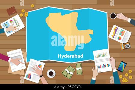 Hyderabad, India capital región de crecimiento de la economía con equipo a discutir sobre mapas plegado vista desde la parte superior ilustración vectorial Foto de stock