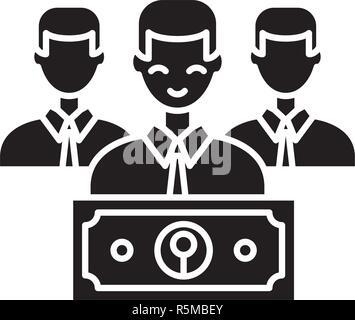 Icono negro de salario, vector signo en antecedentes aislados. Concepto de salario, símbolo de la ilustración