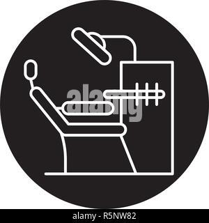 Oficina dentista icono negro, signo de vectores de fondo aislados. Concepto de oficina de dentista, símbolo de la ilustración
