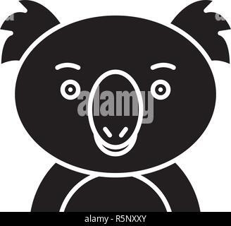 Gracioso koala icono negro, signo de vectores de fondo aislados. Gracioso koala concepto símbolo, ilustración