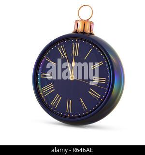 Reloj de bola de Navidad Nochevieja medianoche última hora countdown presión. Tiempo de decoración ornamental de adorno adorno negro. Felices vacaciones de invierno
