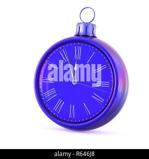 Reloj de bolas de Navidad el día de Año Nuevo azul medianoche última hora countdown presión. Tiempo de decoración ornamental de adornos de adorno. Felices vacaciones de invierno b