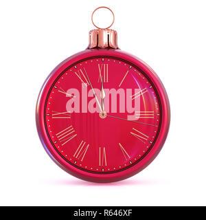 Año Nuevo! Feliz Fiesta de invierno comienzo de vacaciones. 12 Reloj de cuenta regresiva de última hora de la medianoche la presión. Bola de Navidad decoración ornamento oro rojo