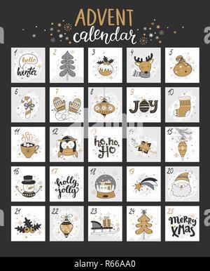 Feliz Navidad calendario de Adviento con símbolos.